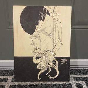 Handmade Painting: Octopus attacking a boat